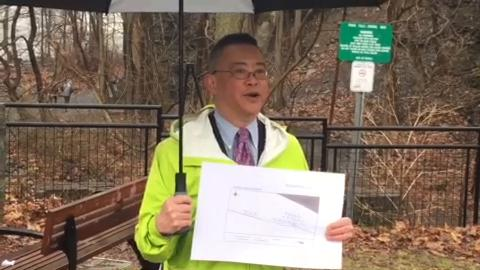 Walter Hang, of Toxics Targeting, says the Ithaca Falls Natural Area should be temporarily closed because of high levels of lead contamination and should be reopened after a successful cleanup.