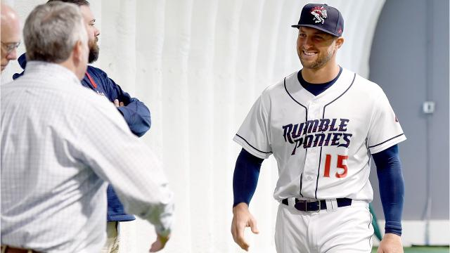 Tim Tebow, Heisman Trophy winner and outfielder with the New York Mets organization, talks about his first impressions of Binghamton, NY, during a Rumble Ponies press conference.