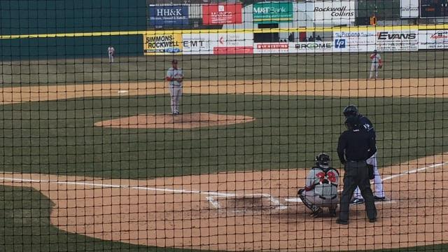 Binghamton Rumble Ponies left fielder Tim Tebow pulls head, can't check his swing and waves at a curveball away while striking out in Saturday's game against the Portland Sea Dogs. Tebow went 0-for-3 with two strikeouts in Binghamton's 5-3 victory.