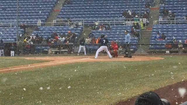 The Binghamton Rumble Ponies' Tomas Nido grounds out to second in the third inning as snow flies Sunday at NYSEG Stadium. Binghamton defeated the Portland Sea Dogs, 4-3.