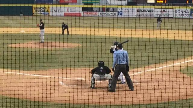Tim Tebow singles into center in the second inning of the Binghamton Rumble Ponies' 4-0 loss to the Akron RubberDucks on Wednesday before an announced crowd of 910 at NYSEG Stadium.