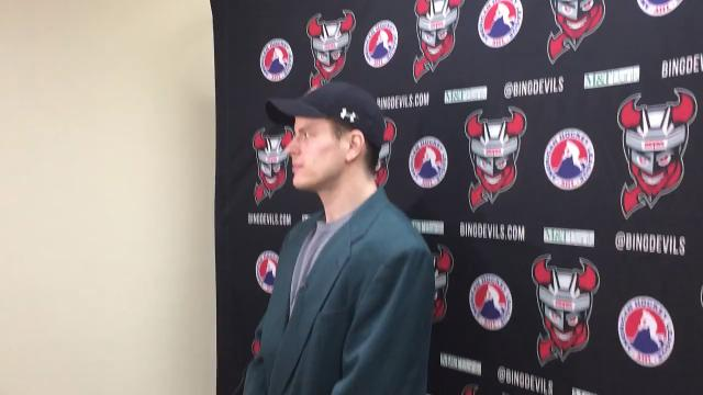 Binghamton Devils defenseman Jacob MacDonald speaks at a news conference Monday at Floyd L. Maines Veterans Memorial Arena.