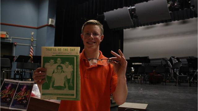"""Maine-Endwell High School senior Luke Kaczynski was inspired by the school's spring musical """"Buddy - the Buddy Holly Story"""" to compile a collection of memorabilia related to the life and legacy of Buddy Holly."""