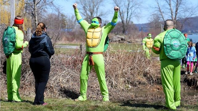Runners of all ages came out to the Ithaca Children's Garden on Saturday, April 21, for the annual Tough Turtle. The charity fun run features obstacles along the Black Diamond Trail and Cayuga Waterfront.