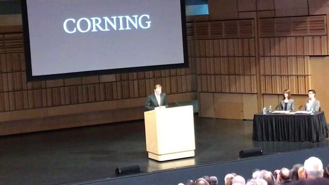 Wendell Weeks, Corning Inc. chief executive, outlines the company's future growth prospects at the 2018 annual meeting at the Corning Museum of Glass on April 26, 2018.