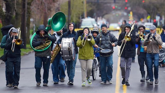 Streets Alive! Ithaca featured bikes, food and the funk of the Fall Creek Brass Band.
