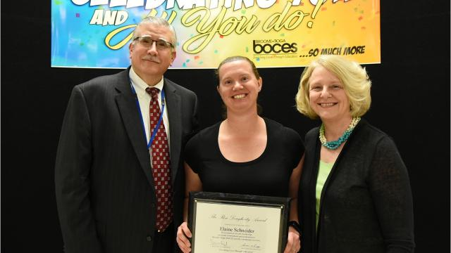 Elaine Schneider,a longtime occupational therapist and department team leader at Broome-Tioga BOCES, received the 2018 Ron Dougherty Award.