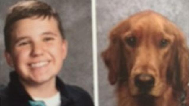 Oscer is a three-year-old service dog for Vestal Middle School eighth-grader Hudson Golebiewski, 14, who is autistic.