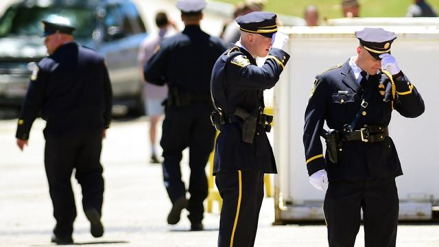 New York State Police Major Richard Allen recalls Trooper Nicholas Clark during the viewing for the slain trooper on July 7, 2018, at Alfred University.