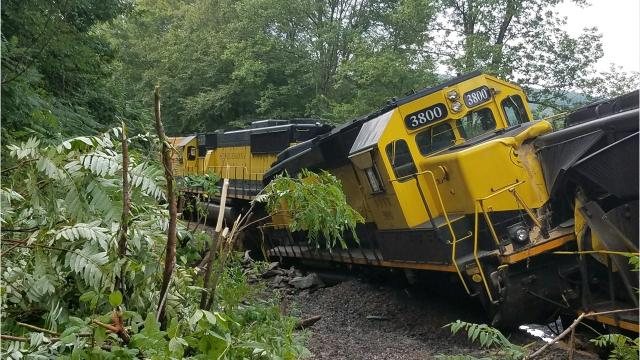 A train bound for Binghamton derailed on August 9 in the Town of Depositafter heavy rain washed out a bridge, sending cars into a river tributary. All photos are courtesy of the Broome County Office of Emergency Services.