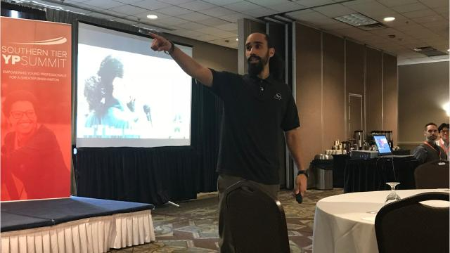 """Josúe """"JQ"""" Quiñones served as a speaker for the 2018 Southern Tier Young ProfessionalSummit Friday at the Holiday Inn Binghamton Downtown."""