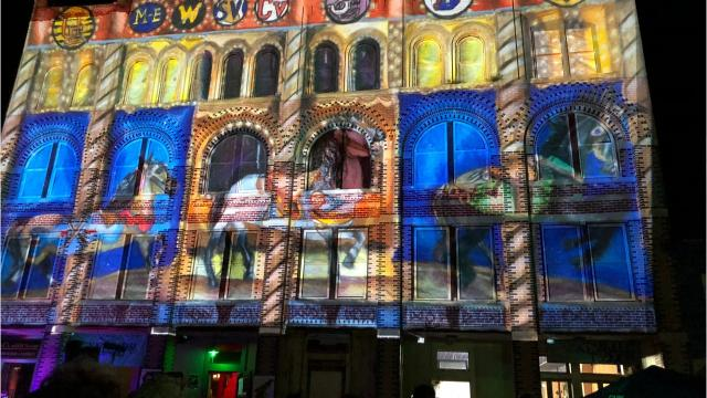 """A colored pencil drawing by Molly Jablonowski, 12, titled """"Broome County Carousel: Riding for Public Education,"""" was accepted in the LUMA Projection Arts Festival's """"Mural Mappings"""" show."""