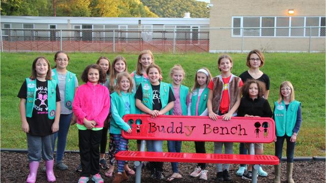 The bench was the result of the Juniors of Chenango Valley Girl Scout Troop 30036C's Bronze Award.