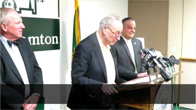 U.S. Sen. Charles Schumer pledges to support federal aid for Binghamton's Main Street corridor project.