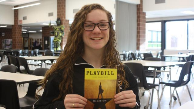"""A grant from the Gilder Lehrman Institute of American History allowed 80 Windsor Central High School juniors to see """"Hamilton"""" on Broadway on Dec. 5 at the Richard Rodgers Theatre. After the matinee, junior Samantha Sova performed a song she wrote about the relationship between Alexander Hamilton and his nemesis, Aaron Burr, to the tune of the theme to the CBS television show, """"The Big Bang Theory."""""""