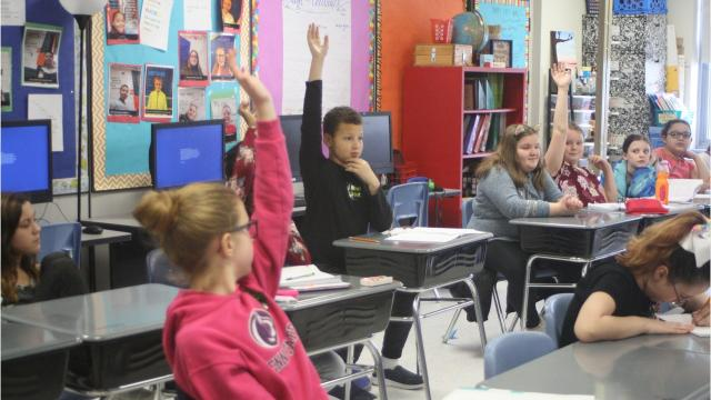 Union-Endicott High School alumni, currently enrolled in college, visited CFJ Elementary School in Endicott on Jan. 4 to share their college experiences.