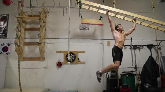 American Ninja Warriors Jeff Harvey and Morgan Wright train together in a south Fort Myers warehouse stocked with handmade obstacles.