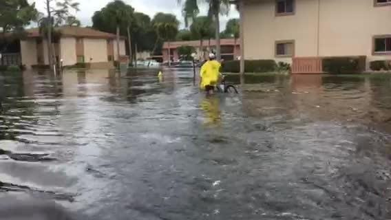 Fire rescue makes rounds though through flooding in Island Park Monday