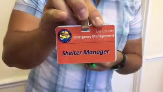 Manny Gonzalez slept eight hours over five days while working in hurricane shelters at South Fort Myers High and Germain Arena.
