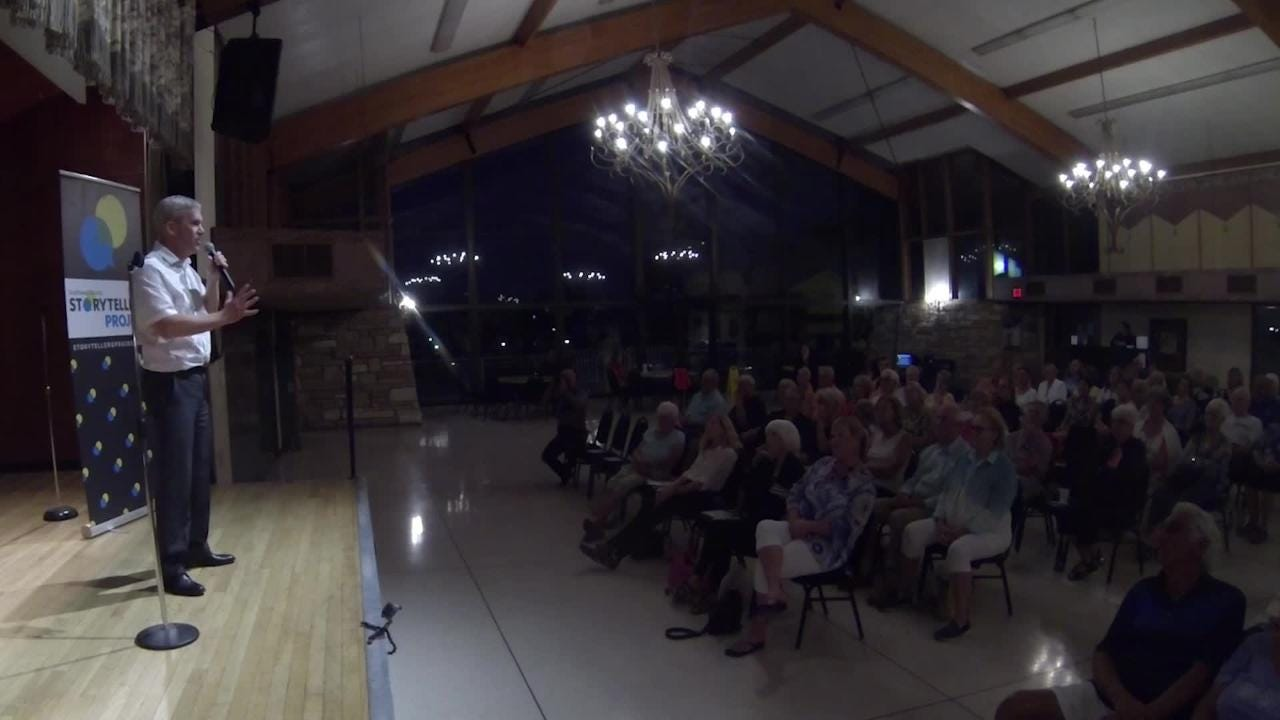 Tom Hayden, senior engagement editor, shares a memorable story from his career during the inaugural Southwest Florida Storytellers Project at the Cape Coral Yacht Club.