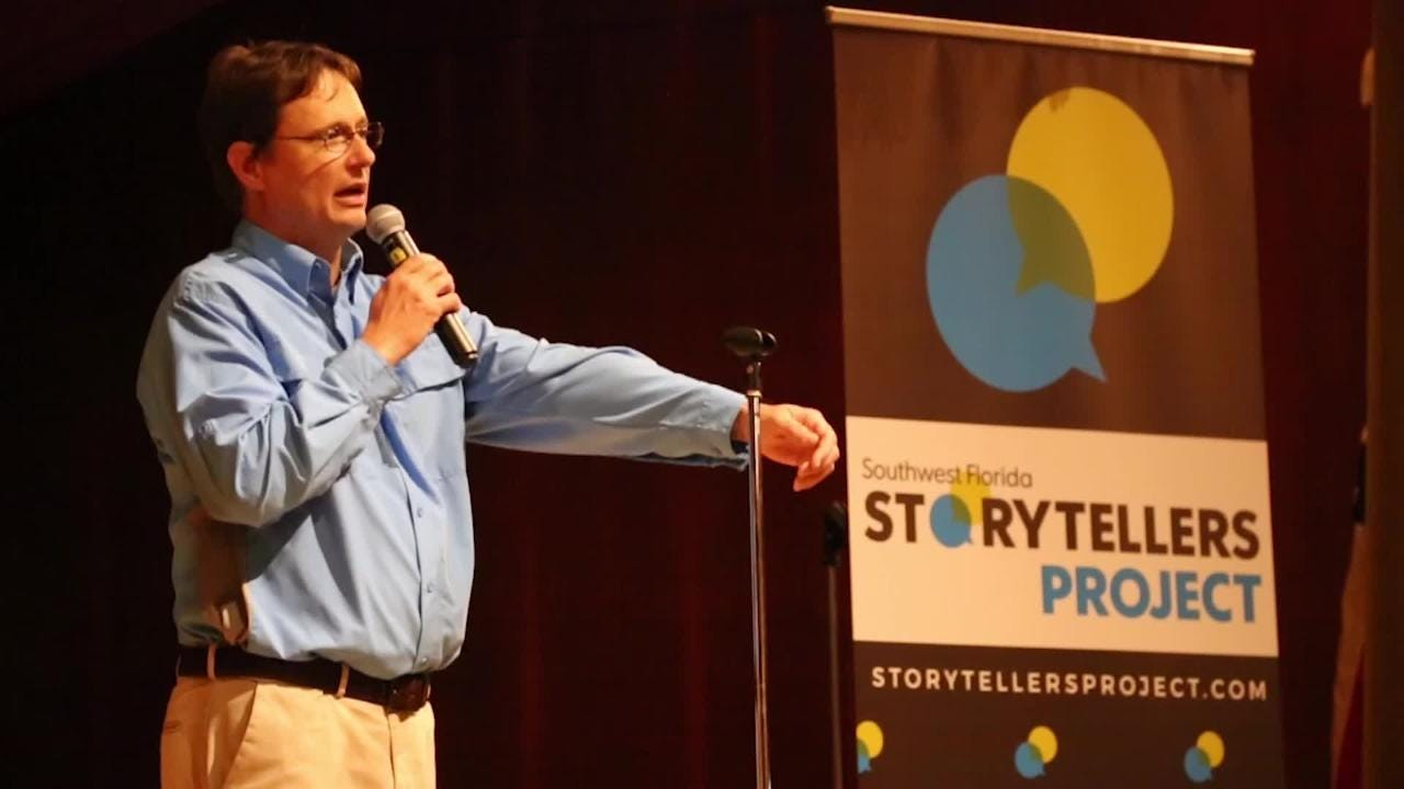 Chad Gillis, environmental reporter at the News-Press, shares a memorable story from his career during the Southwest Florida Storytellers Project at the Cape Coral Yacht Club.