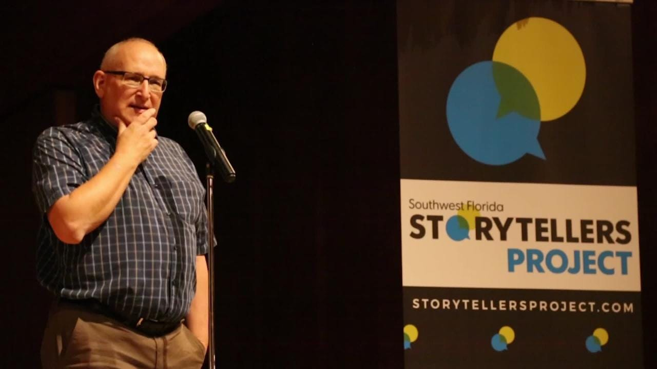 Michael Braun, breaking news reporter, at the News-Press, shares a memorable story from his career during the Southwest Florida Storytellers Project at the Cape Coral Yacht Club.