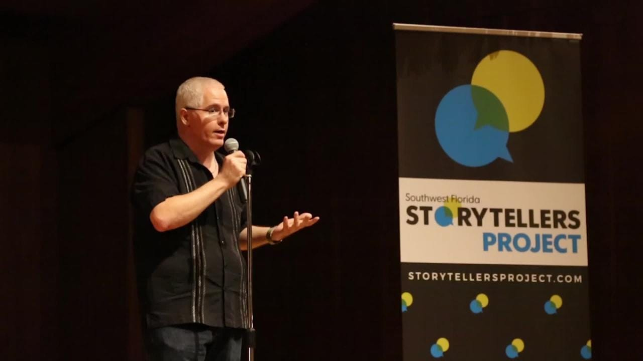 Charles Runnells, entertainment reporter at the News-Press, shares a memorable story from his career during the Southwest Florida Storytellers Project at the Cape Coral Yacht Club.
