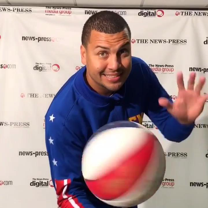 El Gato Melendez of The Harlem Globetrotters shows off some basketball tricks. The famous exhibition basketball team performs Sunday at Germain Arena.