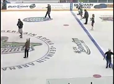 Gronk plays dodge ball at Everblades game
