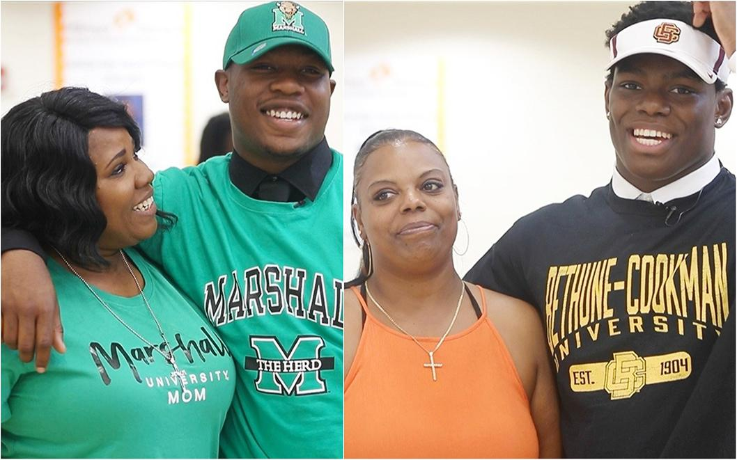 Dunbar High School football players Bakari Jackson and Judas McKenzie give thanks to their mothers on National Signing Day in Fort Myers, Fla. Jackson signed a letter of intent to play at Marshall and McKenzie at Bethune-Cookman.