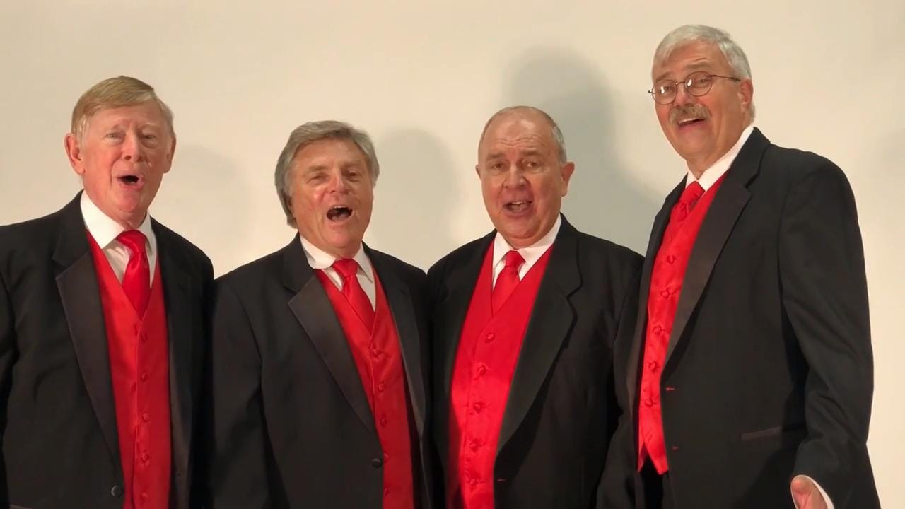 Every Valentine's Day week, quartets from the all-male barbershop chorus Gulf Coast Harmonizers deliver singing valentines throughout Lee County. This singing quartet feature Chuck Solomon, Larry Cunningham, Clint Cottrell and Barry Bowers.