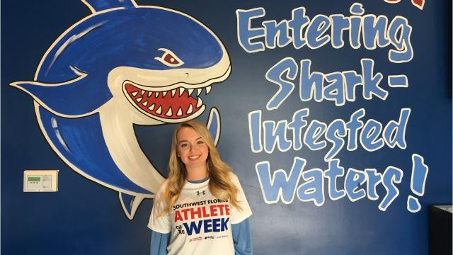Oasis junior girls basketball player Madison Chaney scored 20 points and added 8 rebounds to lead the Sharks to a come-from-behind win against Evangelical Christian.