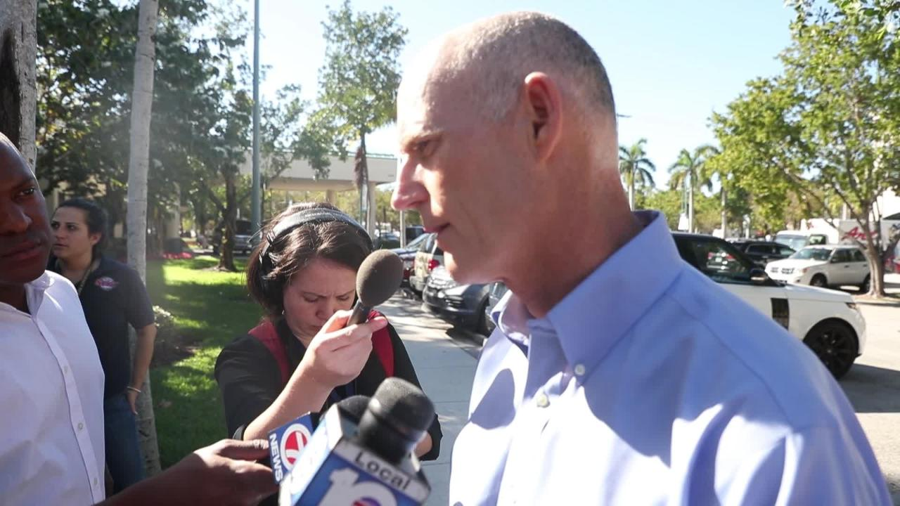 Florida School Shooting: Florida Gov. Rick Scott meets with media after visiting victims