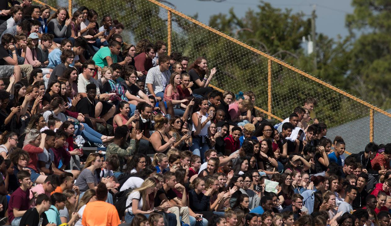 Cape Coral High School was one of several Lee County Schools which participated in a student walkout Wednesday, February 21. Over 200 students participated in the walkout as they made their way to the school's football field stands.