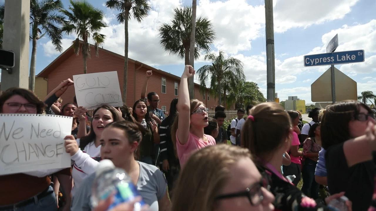 Cypress Lake High School students take to the streets to protest gun  violence in schools