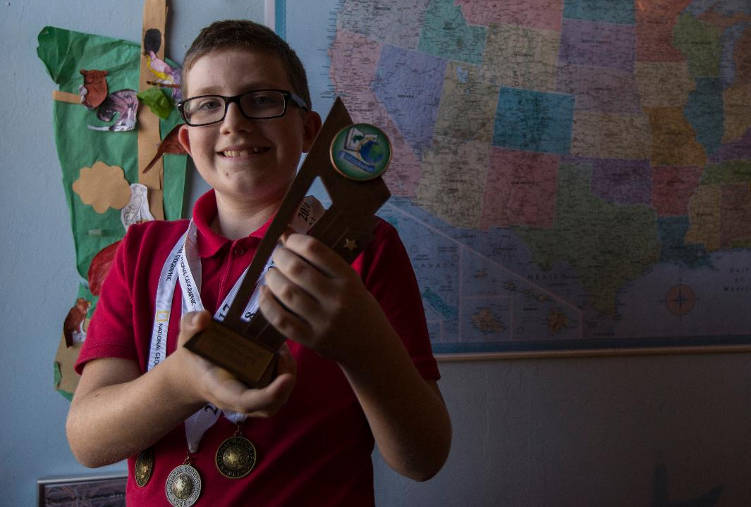 Tyler Feichthaler has qualified for the Florida National Geographic Bee competition for the third year.