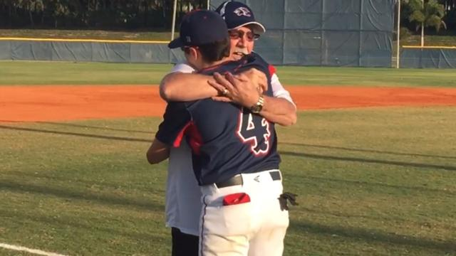 Tom McGovern flew in from Columbus, Ohio to surprise his grandson, Estero High senior Ryan, and see him play high school baseball for the first time. Tom threw out the first pitch to Ryan before the Wildcats' 12-2 loss to Gulf Coast Thursday night.
