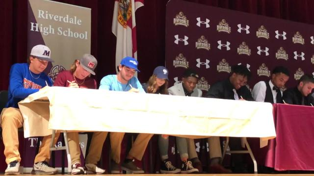 Riverdale High School hosted a Signing Day celebration where 16 student-athletes inked National Letters of Intent to continue their careers at the next level.