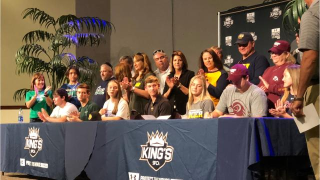 Southwest Florida Christian Academy celebrated the college signings of Mike Gerwitz, Braxton Baker, Reily Anderson, Liam McKinney, Anna-Maria Hofman, Trevor Peckham and Madisyn Dupree on Wednesday in a ceremony at the school.