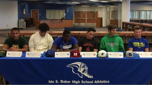Ida Baker held a signing ceremony for football players Josh Nina (St. Vincent), Anthony Gutierrez (Fond du Lac) and Bleck Louis (Brevard) and baseball players Jose Rodriguez (Maryville), Alex Crothers (Ave Maria) and Paul Martin (Mars Hill).