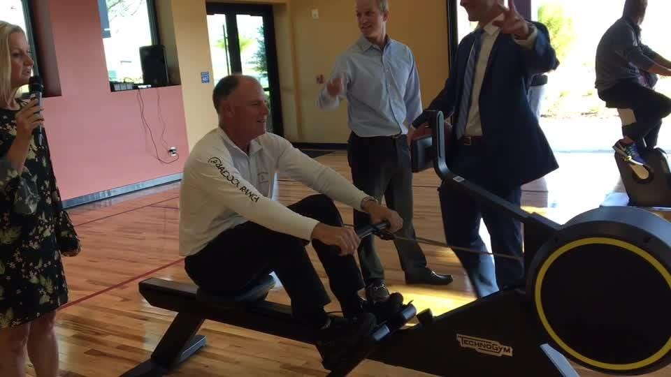 A friendly competition between Babcock Ranch developer Syd Kitson and Lee Health president and CEO was part of opening ceremonies at The Ranch's Healthy Living Center