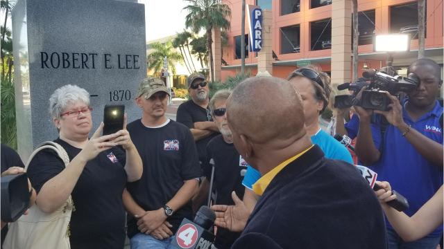 Tempers flared in 2018 when a group led by the Lee County president of the NAACP followed through with a vow to appear at the bust of Robert E. Lee in downtown Fort Myers. James Muwakkil was confronted by members of a group called Keep Lee in Lee.