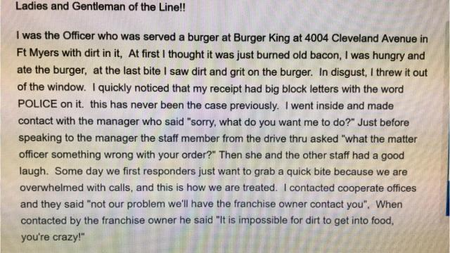 Fort Myers police officer Tim McCormick's Facebook rant about a perceived 'dirty burger' from Burger King vanished from social media after the restaurant and police officials reviewed video of his order being made, determining a seasoning mix and/or char from the frame-broiled cooking contest made the burger appear dirty.