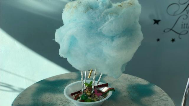 "Best Ice Cream makes many different cotton candy and ice cream combinations, but its most recent creation is the ""Up, Up and Away,"" which models a hot air balloon. (Grace Speas/News-Press)"