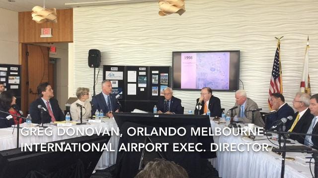 """In August 2017, the Greater Orlando Aviation Authority and Melbourne Airport Authority discussed Melbourne's use of the term """"Orlando"""" during a joint meeting at Exploration Tower at Port Canaveral."""