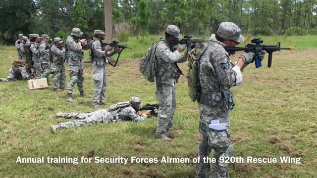 Security Forces Airmen of the 920th Rescue Wing training at the Malabar Annex. Video by Tim Shortt. Posted 8/23/17