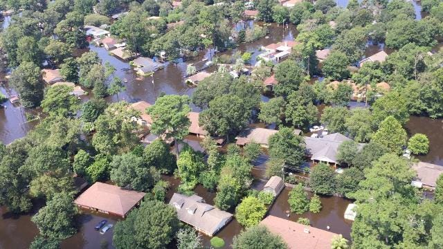 920th Rescue Wing over the Texas flooding