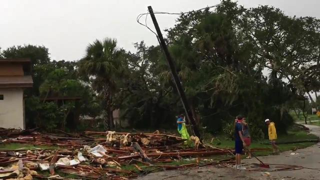 Tornado damage on Anglers Drive in Palm Bay