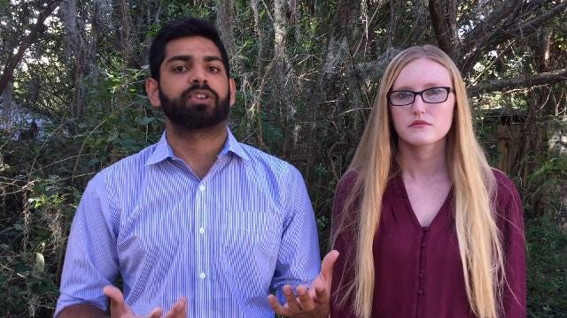 Shreyas Amol Jethwani, UF College Democrats political director, and fellow organizer Ardyst Zigler discuss their call to cancel classes.Video uploaded Oct. 18, 2017, by Rick Neale.