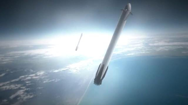 SpaceX Falcon Heavy flight animation. The rocket will be the most powerful in the world when it lifts off from Kennedy Space Center in 2018.